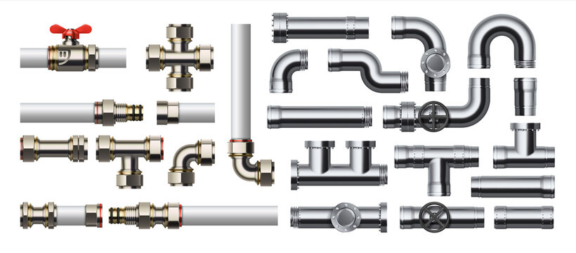 Metal pipeline. Realistic industrial conduit with connections and valves. 3D glossy stainless steel or white plastic tubes for water and gas. Pipe construction kit. Vector engineering plumbing system