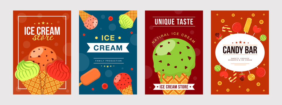 Ice cream posters set. Cones, bars, colorful scoops vector illustrations with text. Summer, dessert, sweet food concept for flyers and brochures design