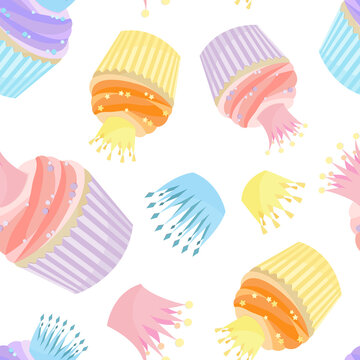 Pattern of cupcakes and cute crowns in pastel colors. Can be used as background for wrapping paper, for baby fabric, baking texture. Children's wallpaper, or wallpaper for a pastry shop.
