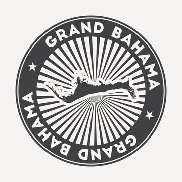 Grand Bahama round logo. Vintage travel badge with the circular name and map of island, vector illustration. Can be used as insignia, logotype, label, sticker or badge of the Grand Bahama.