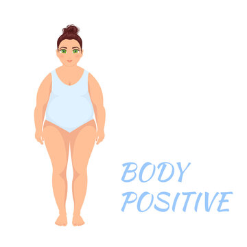 Plus size overweight woman in a swim suit. Plump young female cartoon character on white background. Body positive and self acceptance concept. Vector illustration.