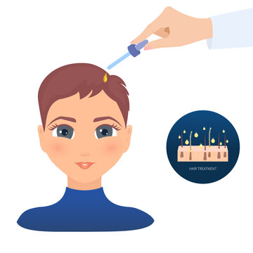 Applying hair care oil essence to woman scalp. Pipette with medicine for alopecia and baldness. Remedy for hair loss treatment. Doctor holding glass dropper with cosmetic serum. Vector illustration.