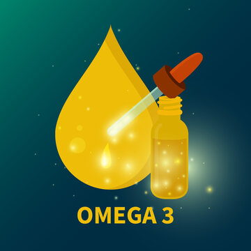 Omega 3 fish oil drop supplement for deficiency. Daily dose of polyunsaturated fatty acids for healthy immune system. Healthy nutrition concept. Medical vector illustration.