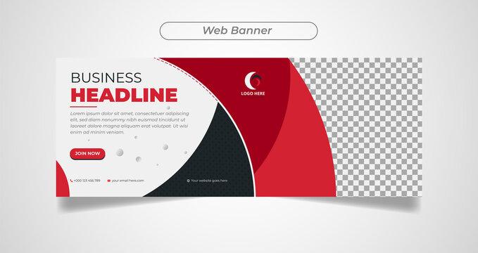 Business banners template, Promotion in social media banner, slider, blogs, web, cover, header. Vector Illustration