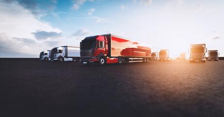 Fleet of new heavy trucks. Transportation, shipping industry