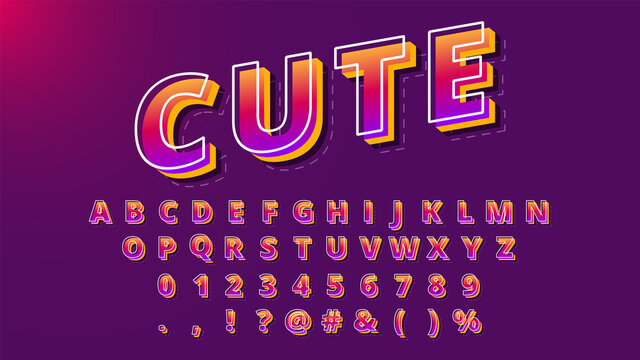Modern font design with shadow effect, alphabet and numbers