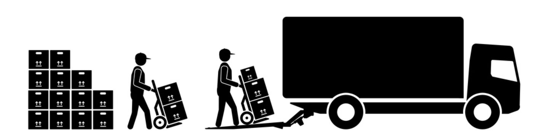 dts35 DeliveryTruckSign - german: Einzug. - Umzugshelfer fahren Umzugskartons zum Umzugswagen. - Sackkarren - english: carton boxes / tail lift - indentation. - moving house van. - hand truck g10229
