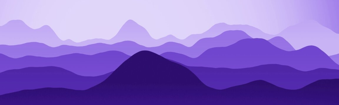 artistic purple hills slopes natural landscape - wide digitally made texture background illustration