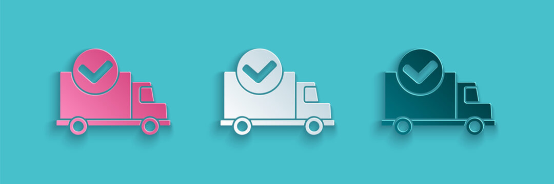 Paper cut Delivery truck with check mark icon isolated on blue background. Paper art style. Vector Illustration.