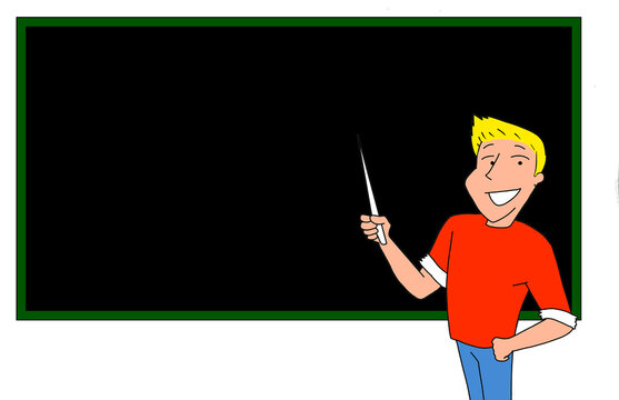 Illustration of a young man who is teaching something on a blackboard