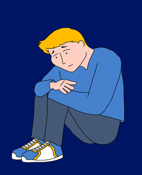 Illustration of a young man sitting on the floor with great concern