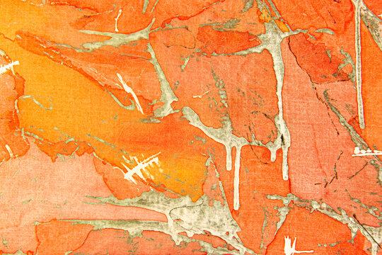 Peel Splash Shibori Pattern. Seamless Water Color Pattern. Background Seamless Water Color Pattern. Creative orange Paintbrush Art. Ethnic Warm Creative