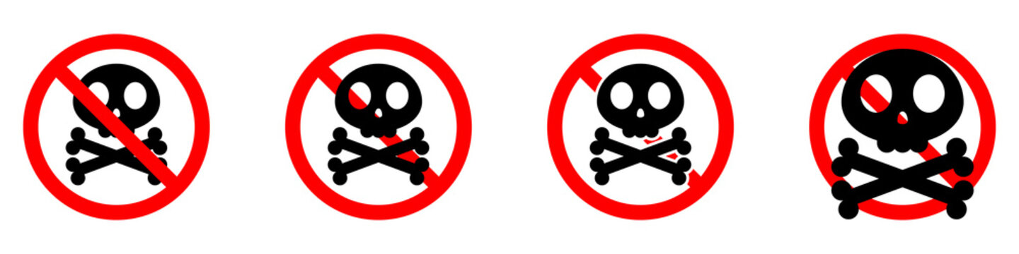 Stop sign with skull and crossbones icon. Skull and crossbones is prohibited