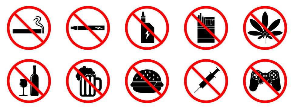 Bad habits icons. Bad habits is forbidden. Stop bad habit icon. Vector illustration.