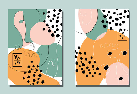 Trendy covers with graphic elements - abstract shapes and linear portraits. Two modern vector flyers in avant-garde  style.