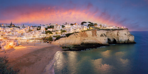Wall Mural - Landscape with Carvoeiro town at twilght time, Algarve, Portugal