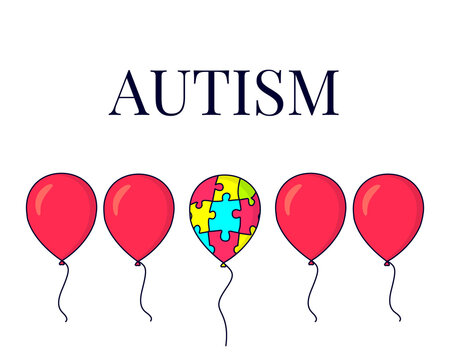 Autism awareness poster with a set of red balloons and one colourful balloon made of puzzle pieces. Social interaction and communication disorder. Support symbol. Medical concept. Vector illustration.