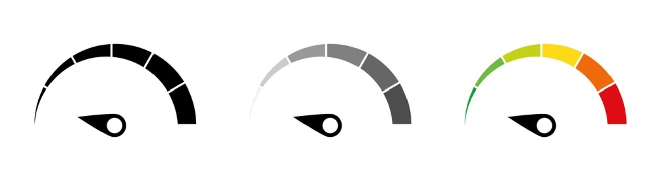 Speed performance gauges icons set. Infographic scales. Speedometer icon set. Customer satisfaction indicator level. Colorful info-graphic speedometer. Risk level gauge. Info-graphic icons set.
