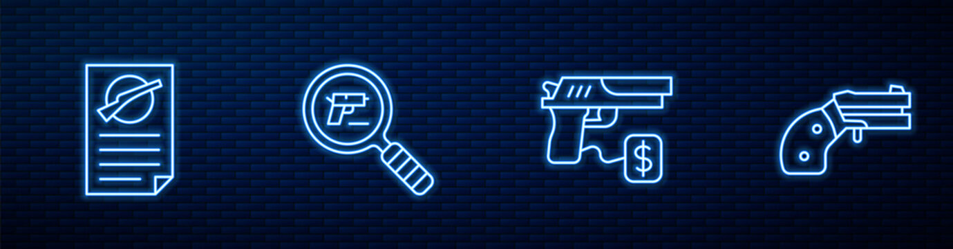 Set line Buying gun pistol, Firearms license certificate, Pistol or search and Small revolver. Glowing neon icon on brick wall. Vector.