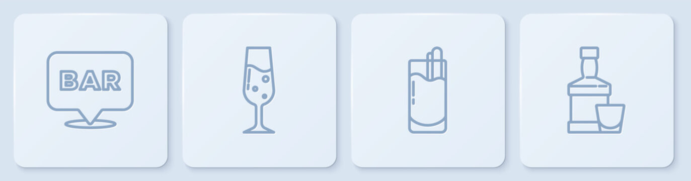 Set line Alcohol bar location, Cocktail Bloody Mary, Glass of champagne and Whiskey bottle and glass. White square button. Vector.