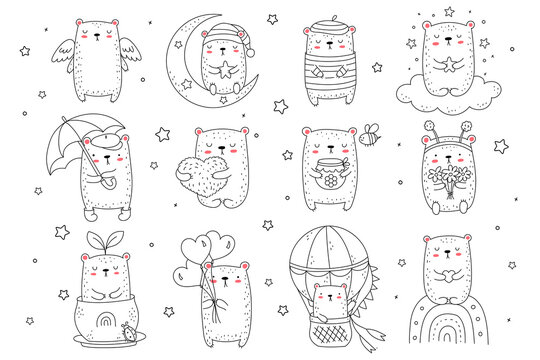 Vector collection of line drawing cute bears. Doodle illustration. Holidays, baby shower, birthday, children's party, greeting cards, nursery decoration