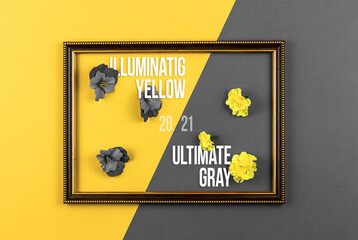 Creative poster or background of trendy colors of the 2021 year, illuminate yellow and ultimate gray, text inscription, composition with a flowers and wooden frame