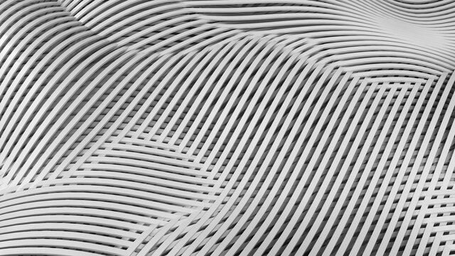 Abstract metal lines overlapping pattern 3d illustration