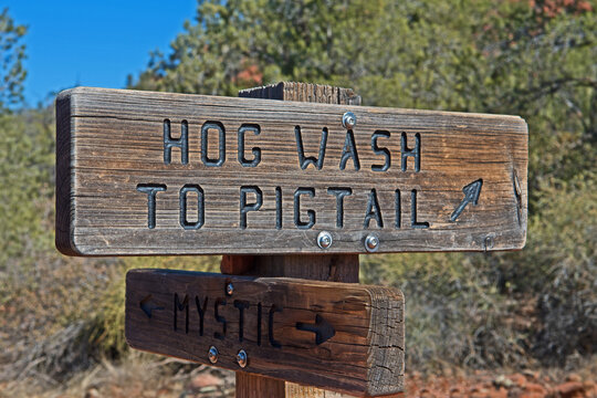 Signposts on the trail system around Sedona, Arizona, show hikers and bikers the way to the various trails.