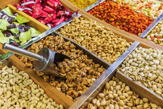 Nuts for sale in the souk in Nizwa, Oman.