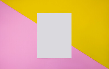 High Angle View Of Blank Paper On Colorful Table