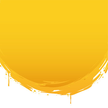 Round brush strokes made with yellow paint and some drips, Vector Illustration