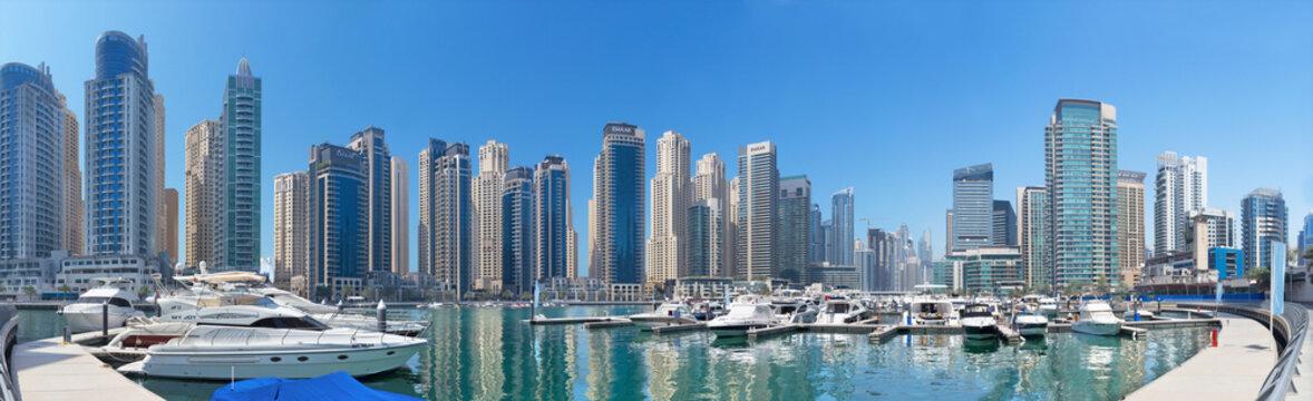 DUBAI, UAE - APRIL 1, 2017: The Marina and yachts.