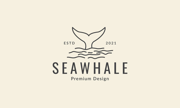 animal fish sea whale tail with water lines logo vector icon symbol graphic design illustration