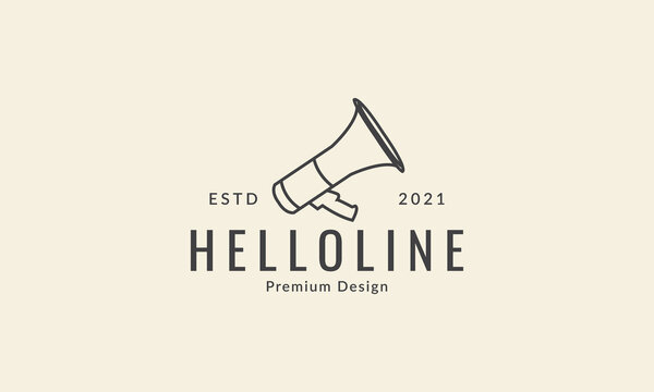speaker horn megaphone lines simple logo vector icon symbol graphic design illustration