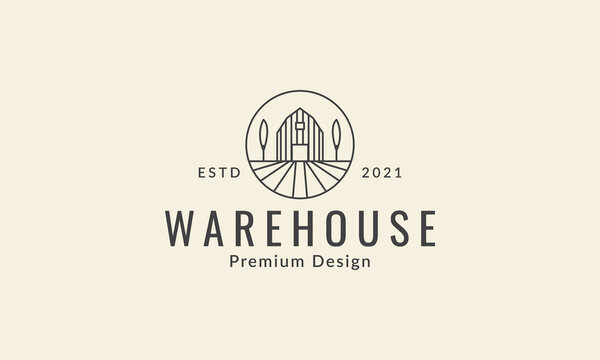 lines warehouse with tree logo vector icon symbol graphic design illustration