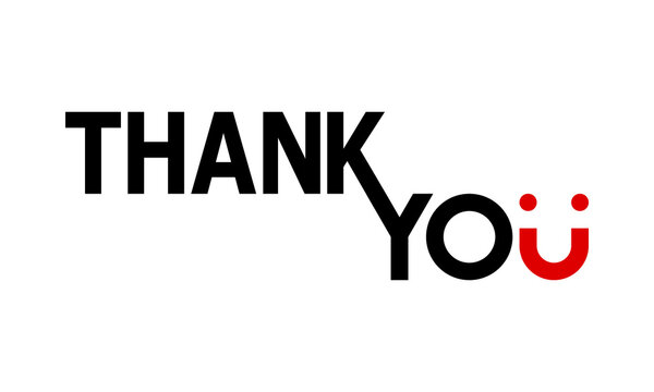 thank you text on white background, U letter as smile, vector illustration