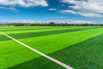 Football pitch and a cloudy sky. Green field.