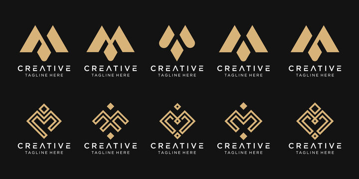 Set of abstract monogram initial M logo template. icons for business of fashion, sport, pixel, technology.