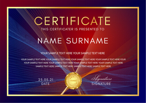Certificate template with Guilloche pattern (lines), frame border and gold medal. Blue and red background for Diploma, deed, certificate of appreciation, achievement, attendance, award plaque design