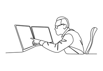 A businessman looking at monitors analyzing the data showed on screen- Continuous one line drawing