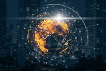 Fototapeta particle earth with technology network circle over the photo blurred of cityscape background, technology and innovation, futuristic and cloud computing, internet of thing and 3d rendering,concept obraz