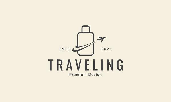 bag with plane travel line logo vector icon symbol design graphic illustration