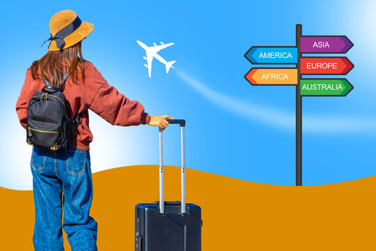 Journey on vacation. Vacation travel concept. Travel Preparation. Girl with things for vacation has her back turned. She chooses where to fly on holiday. Summer background next to woman traveler