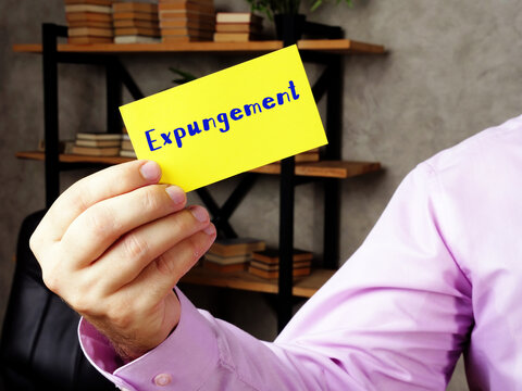 Business concept meaning Expungement  with inscription on the sheet.