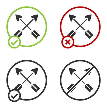 Black Crossed arrows icon isolated on white background. Circle button. Vector.