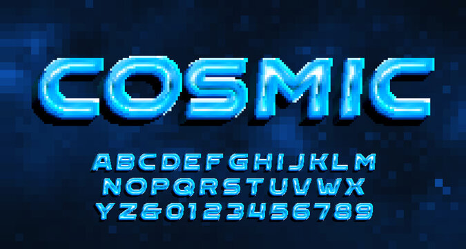 Cosmic alphabet font. Digital 3D letters and numbers. Pixel background. 80s arcade video game typescript.