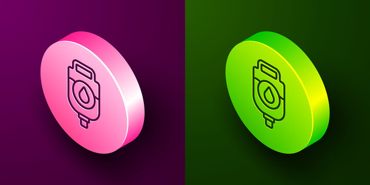 Isometric line IV bag icon isolated on purple and green background. Blood bag. Donate blood concept. The concept of treatment and therapy, chemotherapy. Circle button. Vector Illustration.