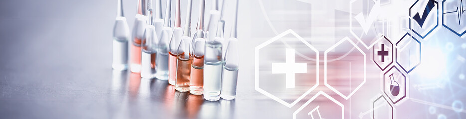 Test tubes with drugs and tests to test the victims and treat the infected. Ampoules with...