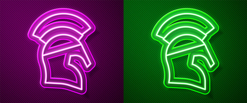 Glowing neon line Greek helmet icon isolated on purple and green background. Antiques helmet for head protection soldiers with a crest of feathers or horsehair. Vector.