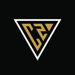 Fototapeta Initial letter CZ triangle logo design obraz